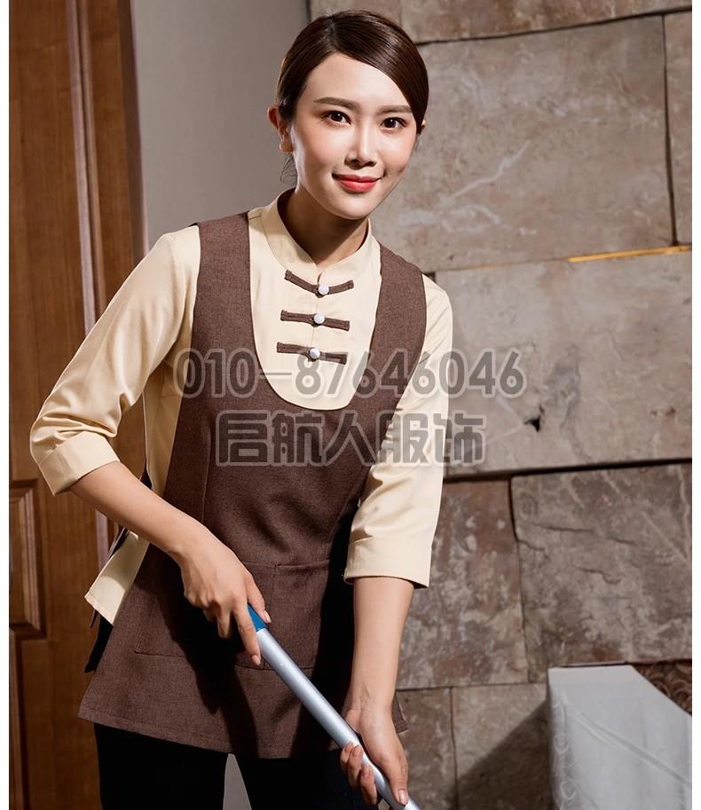 酒店保洁乐动体育官网入口短袖宾馆客房咖啡餐厅清洁工衣咖色服装保洁员套装