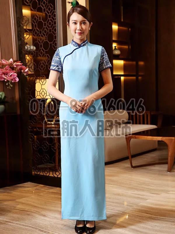 高档酒店宾馆长款旗袍礼服 中式茶楼茶庄服务员乐动体育官网入口