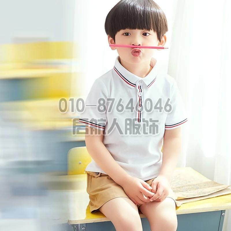北京定做幼儿园园服夏装夏季短袖纯棉套装小学生校服夏天儿童班服毕业服装
