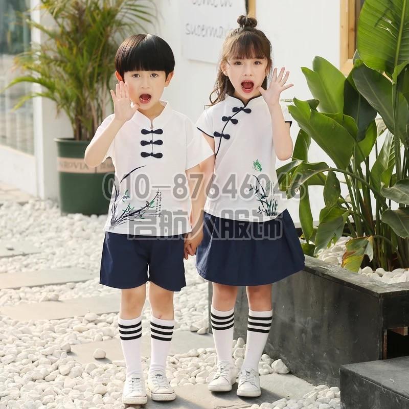 新款幼儿园园服夏装短袖英伦风男女童小学生夏季校服套装运动装棉