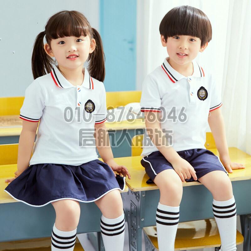 幼儿园园服夏短袖儿童夏季班服英伦毕业照服装韩版小学生校服套装